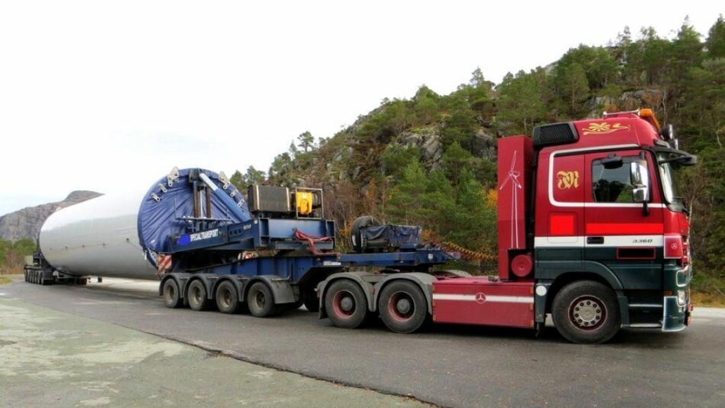 Det ene av de to vogntogene der den danske eieren er anmeldt for ulovlig kabotasje.