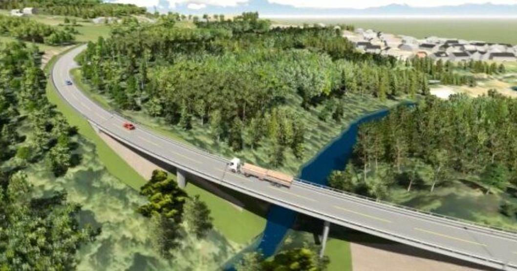 Ny Fiskumelva-bru er del av ny fylkesvei 72 på Darbu.