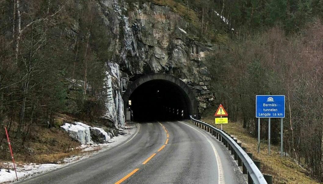 Fra 4 januar blir det nattestengt i Bermålstunnelen på fv 53 mellom Årdal og Lærdal i Sogn.