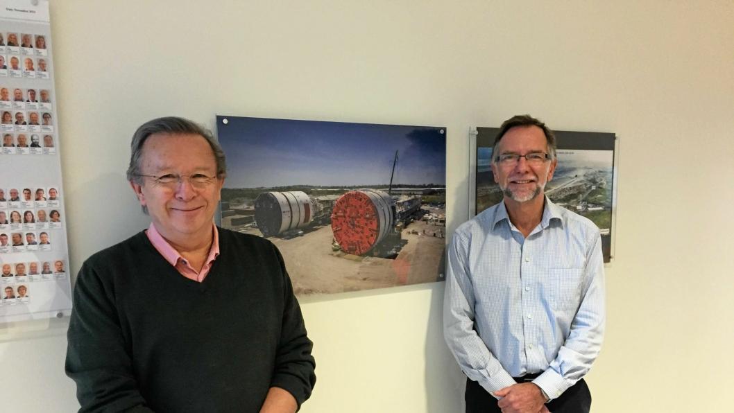 Ansvarlig for anskaffelser til Follobaneprosjektet, Jan Vormeland (til venstre) og prosjektdirektør Erik Smith hadde begge trodd at noske entreprenører skulle få være med på moroa på Follobanen.