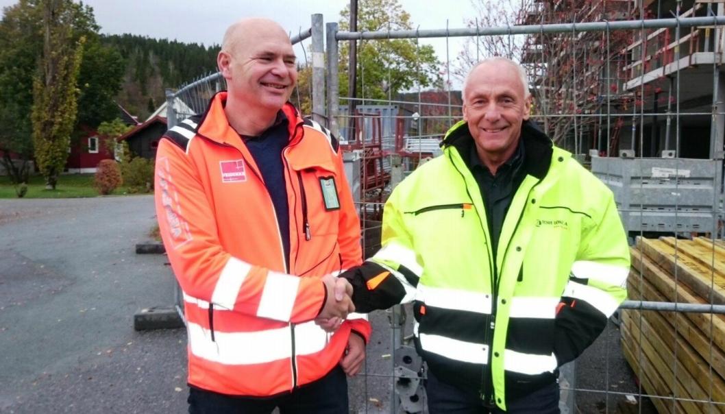 Distriktsleder Stein Bjøru (t.v.) og daglig leder Tore Løkke ser frem til å spille på samme lag.