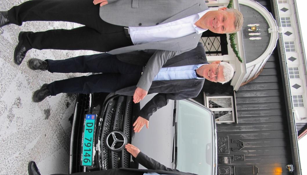 BOS-trioen Per Ragnar Johansen (fra h.), Olav-Kåre Thingwall og Knut Arne Sæta har stor tro på vekst for «stjerne-bilene» i 2016.
