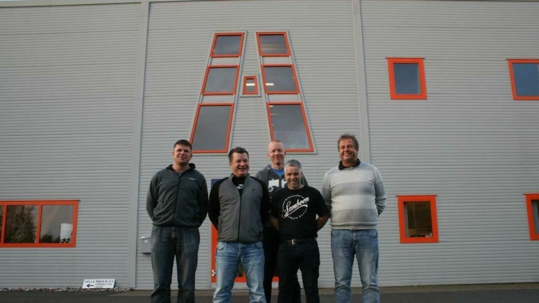 Den nye ledergruppen i Hella Maskin AS fra vestre; Pål Eirik Senland, Asbjørn Herikstad, Sveinung Liaskar, Magne Rivenes og Jon Hella.