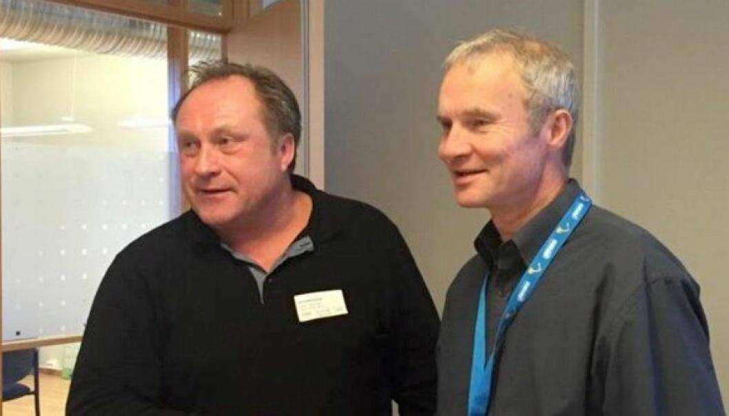 De daglige lederne Rune Langfjell i Asfaltverket Mo (t.v.) og Knut Harstad i Hæhre Entreprenør har inngått «Norges største asfaltkontrakt».