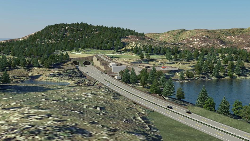 Illustrasjon av tunnelinnslag ved Laupland.  Statens vegvesen/Cowi