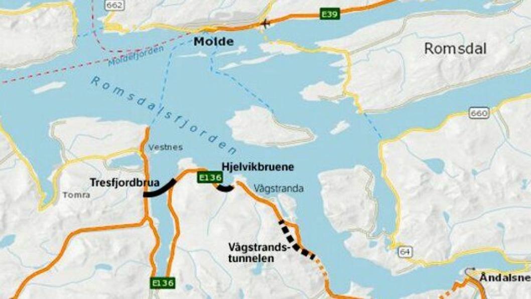 Befolkningen i Vågstranda skal få kjøre rundt Tresfjorden i Vestnes kommune uten å betale bompenger, dersom samferdselsdepartementet får med seg Møre og Romsdal fylkeskommune på et prøveprosjekt.