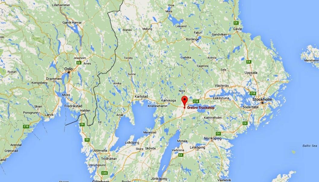 Örebro Truckstop (markert) ligger i «veikrysset» mellom Oslo, Stockholm og Göteborg.