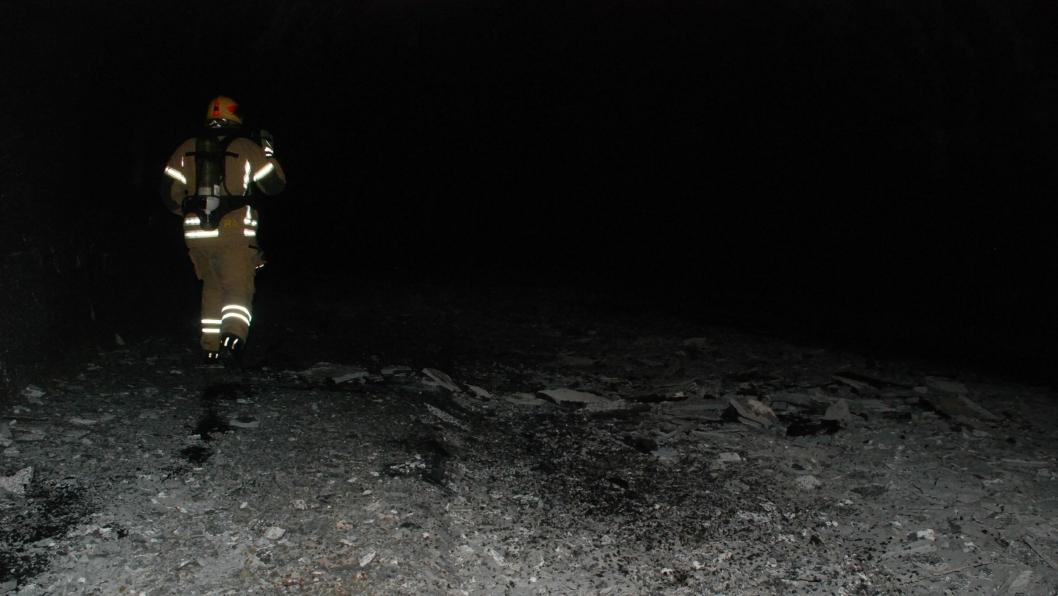 Bilde tatt etter brannen i Skatestraumtunnelen.