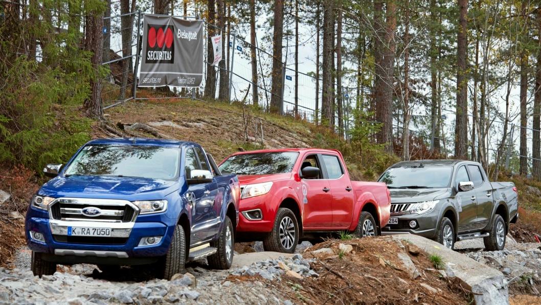 Fra venstre: Ford Ranger, Nisan NP300 og Mitsubishi L200.