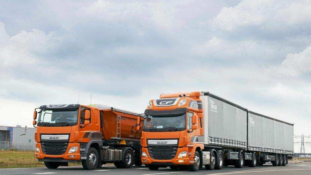 DAF CF har stor spennvidde. Modulvogntog og trekkvogn for dumpersemitrailer er bare to anvendelsesområder.