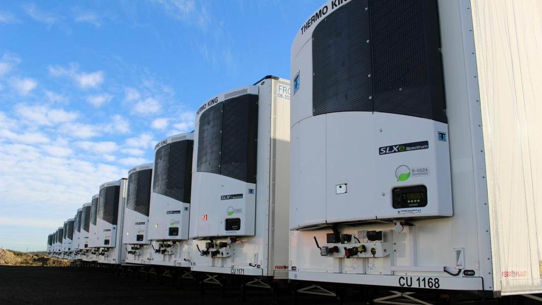 Her er 20 enheter på plass. Multi temperatur aggregat bidrar til muligheten for ulike temperaturer på samme trailer.