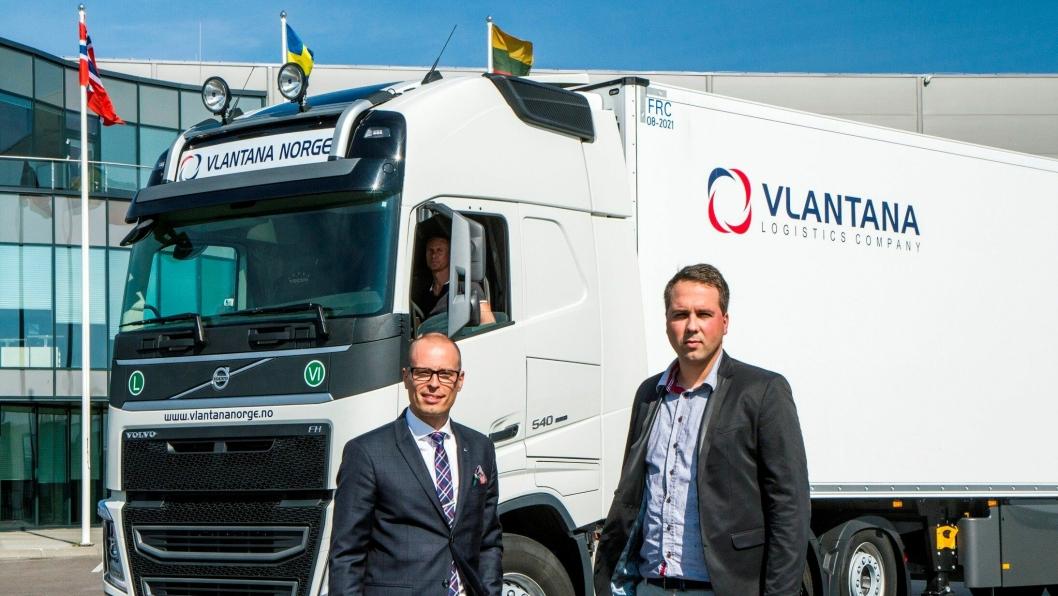 Jarkko Aine, adm. direktør for Volvo Trucks Litauen og Vladas Stončius, direktør for Vlantana Norge AS. Alle