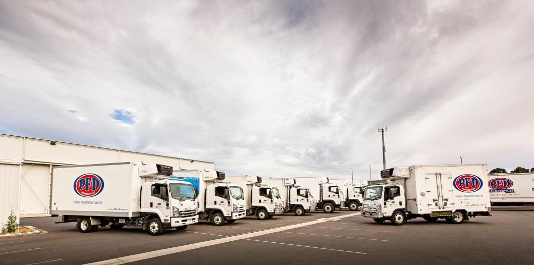 Noen av distribusjonsbilene som er i bruk hos PFD i Australia.