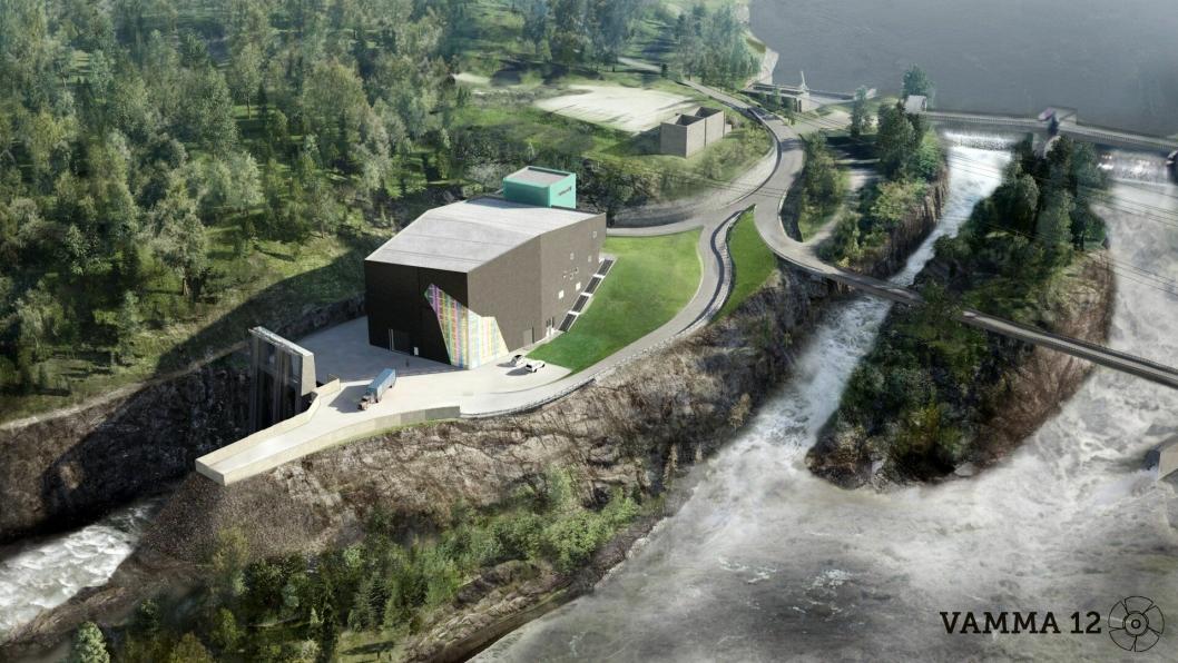 Slik skal det se ut på Vamma Kraftverk i Skiptvedt etter utbyggingen. Illistrasjon: Hafslund