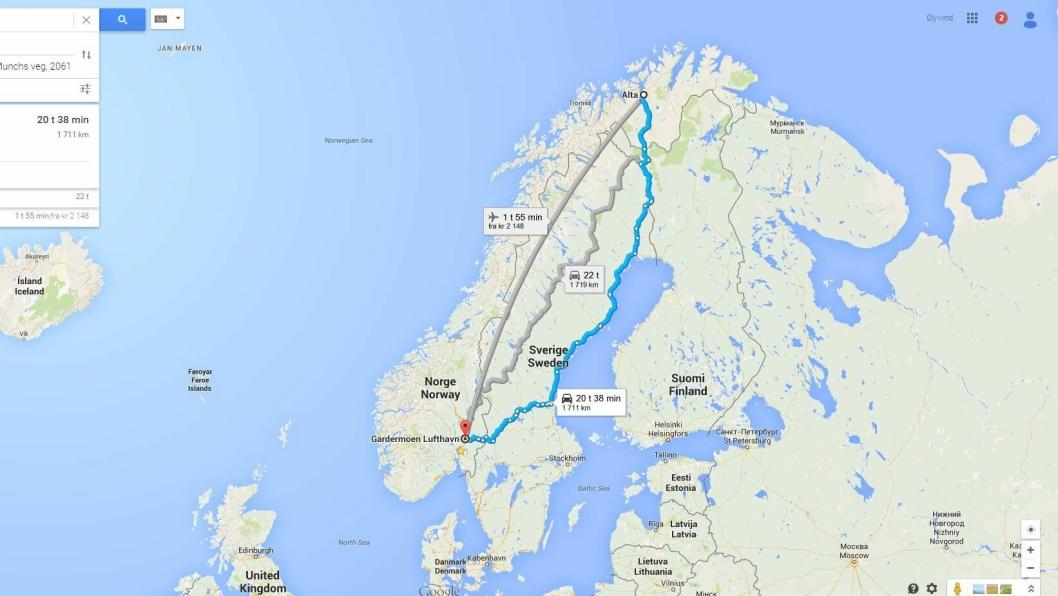 Alta til Gardermoen er korteste vei drøyt 1700 km.