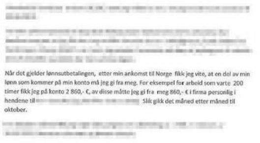 Her er brev fra en annen fremmedarbeider, som fikk deler av sin lønn inndratt.