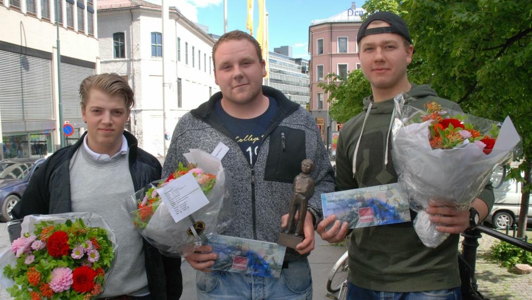 Årets vinnere (f.v.) Benjamin Arntsen, Erik Hagen Ekseth og Benjamin Drabløs Sætren.