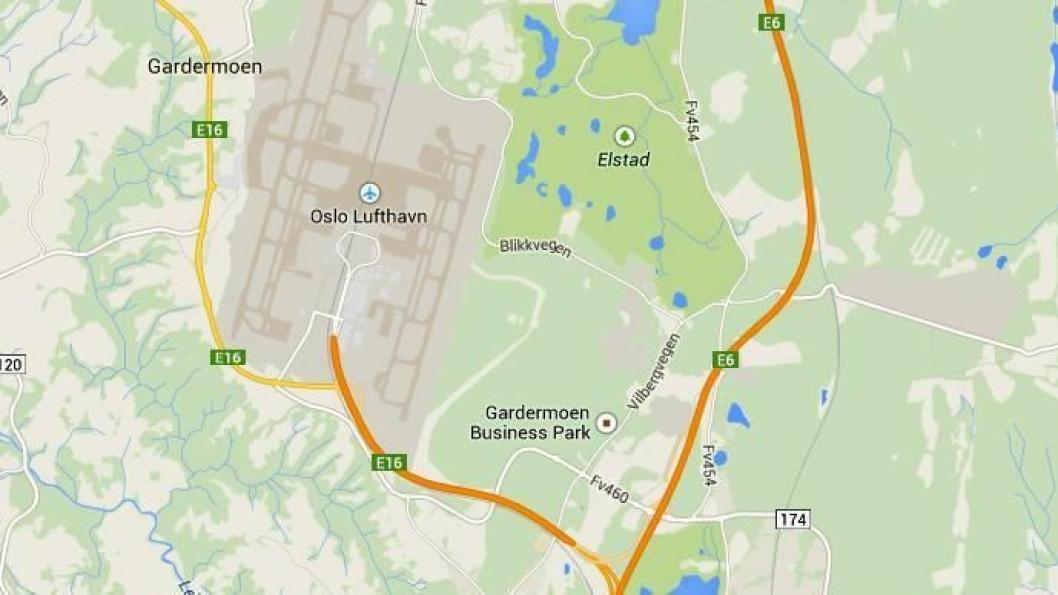 Det skal bli nytt kryss mellom E6 og E16 og nytt kryss ved Gardermoen næringspark. Kart: Google Maps