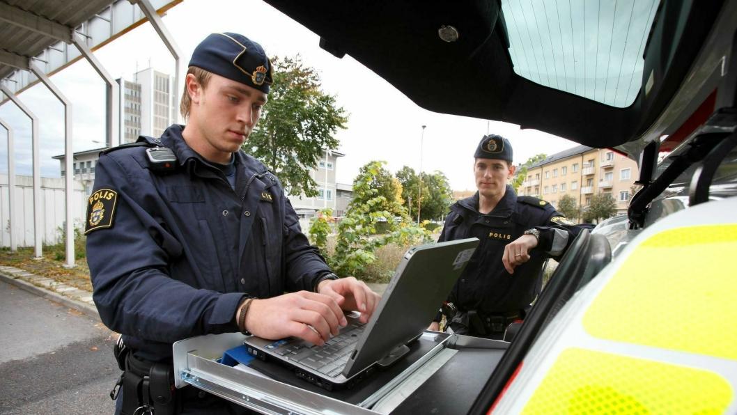 Svensk politi i aksjon. Illustrasjonsbilde.