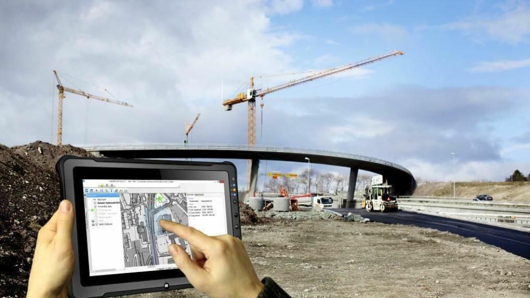 Det nye systemet lar brukeren jobbe direkte fra et nettbrett på anleggsplassen.