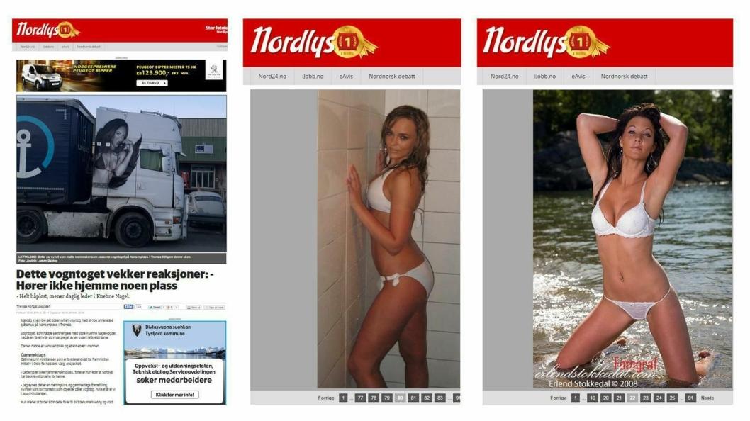 Faksimile: Bildet viser tre sider (skjermbilder) fra Nordlys.no lagt ved siden av hverandre Skjermbildene ble hentet inn 21. mai. Skjermbildet til venstre er fra mai 2015. De andre bildene inngår i en serie på 91 bilder av lettkledte kvinner. Denne ble lagt ut i 2008, men er fremdeles tilgjengelig.