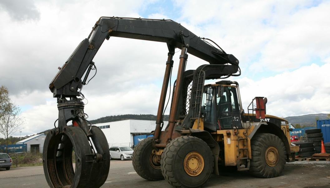 I tømmerklypa tar hjullasteren Cat 980G ca. 15 m3 i hvert jafs.