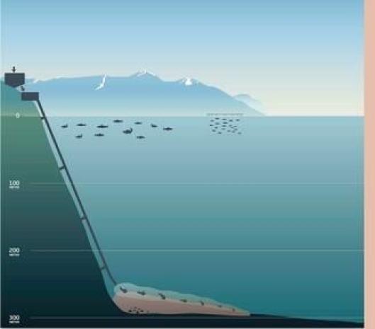 Skissen viser hvordan overskuddsmassene skal føres til bunns via et rør slik at livet i Førdefjorden berøres i så liten grad som mulig.