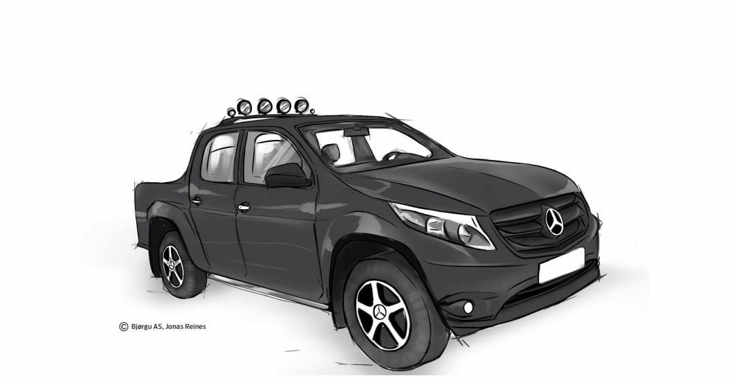AT.no har fått vår egen designer Jonas Reines til å illustrere hvordan en Mercedes-pickup kan bli basert på dagens MB-front.