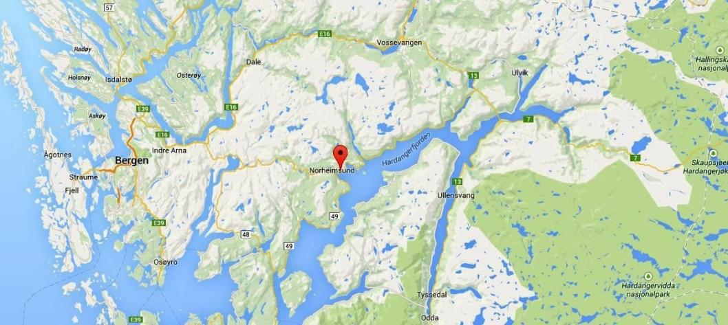 Det skal bli tryggere for alle trafikanter når Kvammapakken i Kvam er ferdig bygget (området markert). Kart: Google Maps