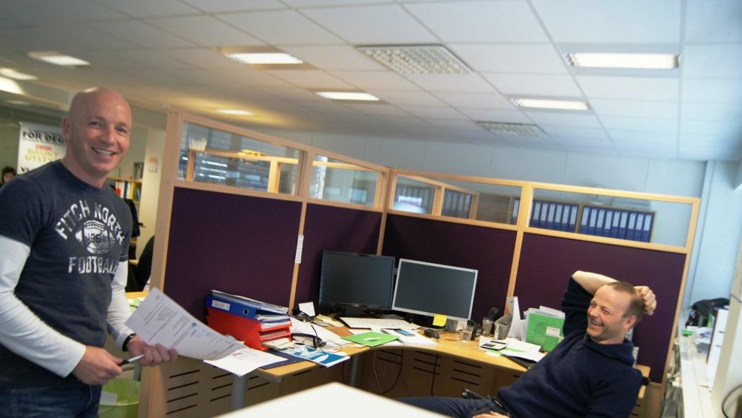 Utemegler Jan Inge Solem (t.v.) og daglig leder Karstein Berg i Plustech.