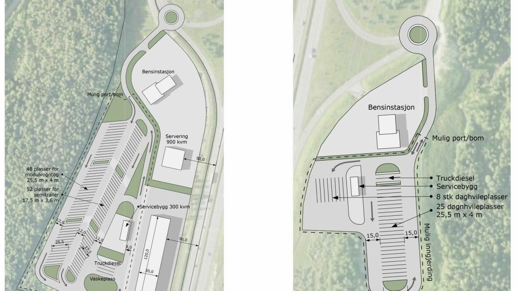 Vest for E6 (til venstre) skal det ifølge planene etableres et veiserviceanlegg med 100 oppstillingsplasser for vogntog, en vaskeplass, et servicebygg på 300 m2, en bensinstasjon, et serveringssted på 900 m2 og et 120 meter langt verksted.Øst for E6 skal det bygges rundt 30 døgnhvileplasser, en bensinstasjon og et servicebygg til midlertidig bruk inntil vestsiden er ferdig bygget.