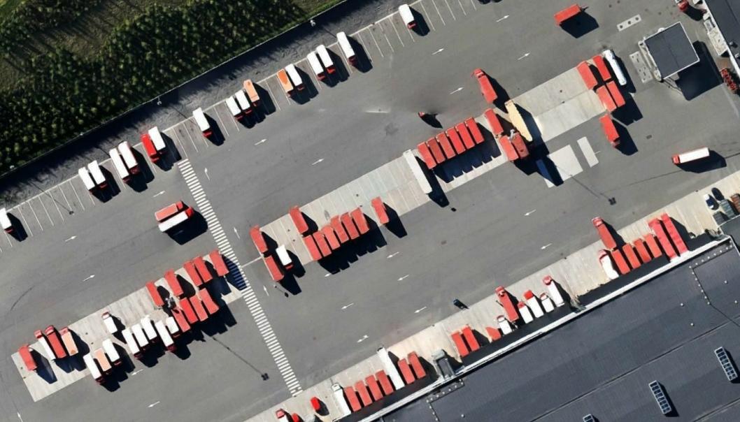 Postens store terminal i Lørenskog fra luften.