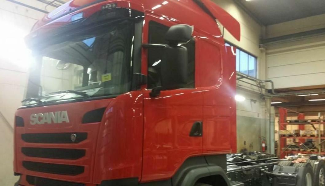 En slik lastebil forsvant fra Joab AB i Lessebo helgen 20. til 22. februar.