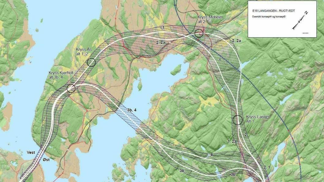 Statens vegvesen går inn for at den nye traseen for E18 skal gå i nærheten av nåværende vei forbi Moheim - alternativ 1 på dette kartet.