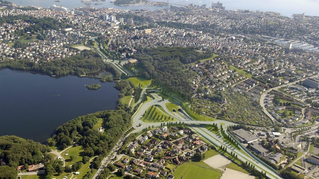 Schancheholen: Fotomontasje som viser starten på Eiganestunnelen og avkjørsel mot Stavanger sentrum.