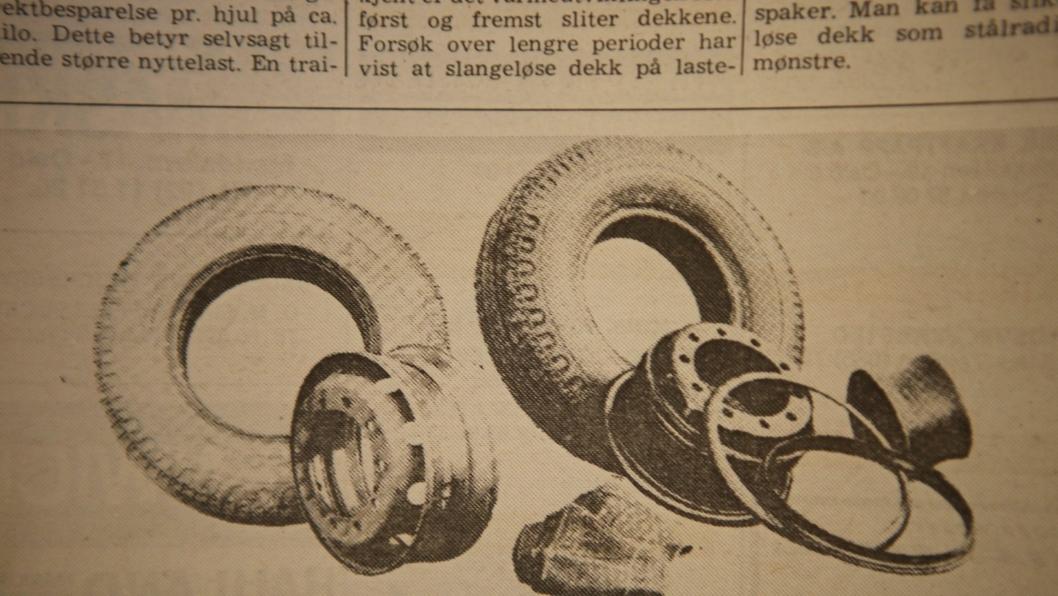 I tradisjonelle hjul må det seks deler til, mens de slangeløse bildekkene bare har to – dekket og felgen. Man sparer inn ca. 25 kilo på hvert slangeløse dekk.