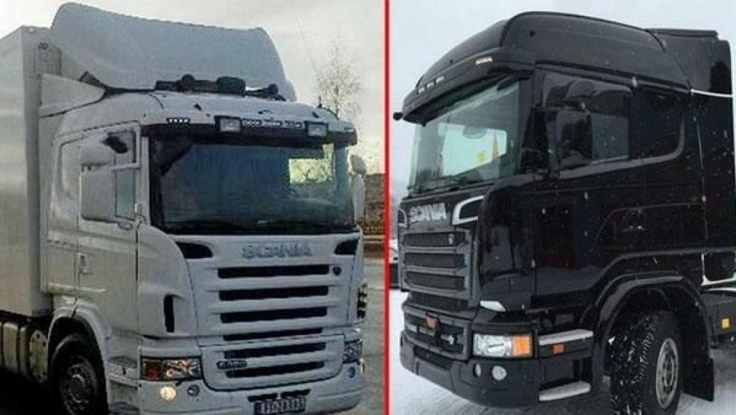 Disse to lastebilene, skapbilen til venstre, er i løpet av helgen stjålet fra parkeringsplassen utenfor Scania på Hamar.