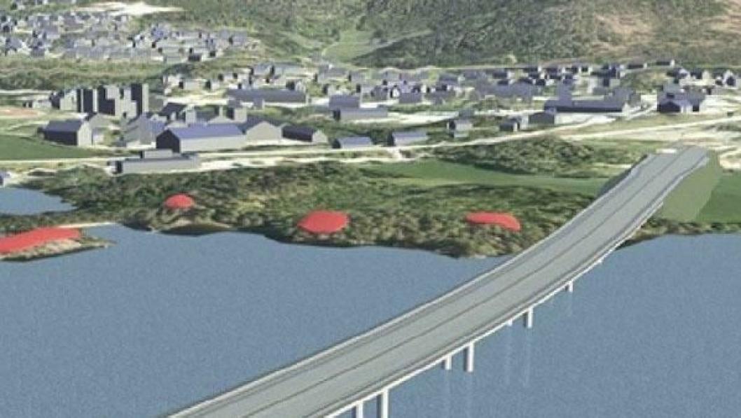 Skissen viser hvordan ny Mjøsbru vil starte fra Moelv på østsiden av Mjøsa. De røde områdene er kulturminner.