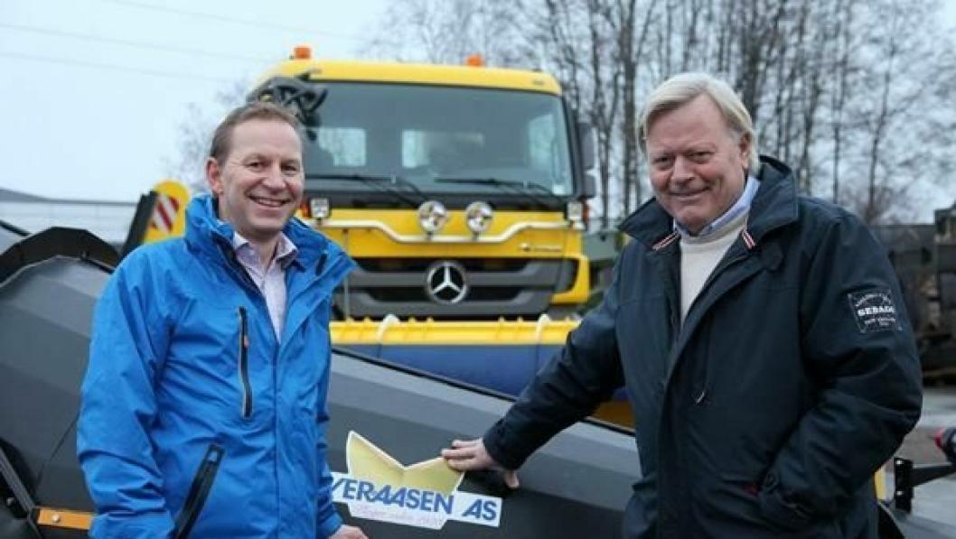 Nyansatt Salgssjef Erik Abrahamsen (t.v.) og daglig leder og eier Thor Arve Øveraasen har planer om at Øveraasen skal bli en betydelig aktør på vintervedlikehold av veier.