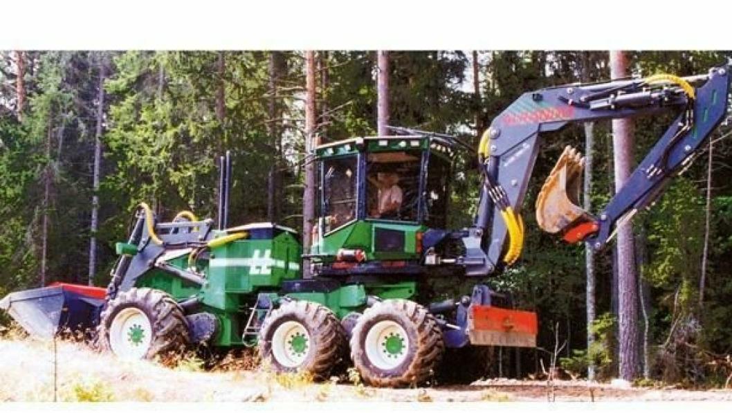 Maskinen har seks hjul, rammestyring og en rekkevidde på graveaggregatet på nesten 10 meter.