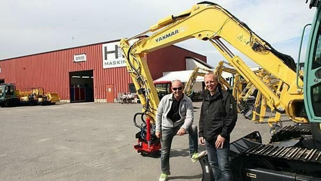 Grunnleggerne og eierne av H&H Maskin AS, Hans Christian Hagen (t.v.) og Tom Erik Huuse.
