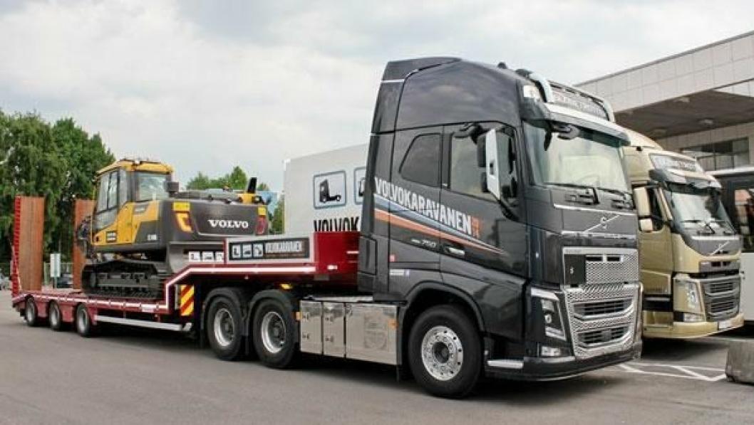 Bildet symboliserer at Volvo Karavanen 2014 er et samarbeid mellom blant annet Volvo Norge og Volvo Maskin.