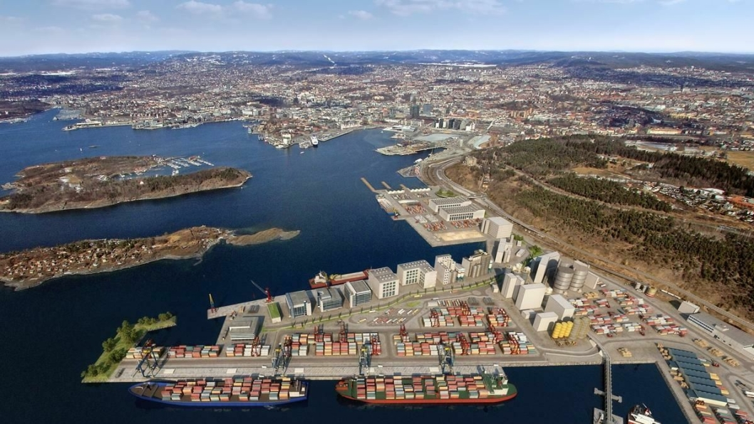 Slik blir containerterminalen på Sjursøya seende ut når den er ferdig.