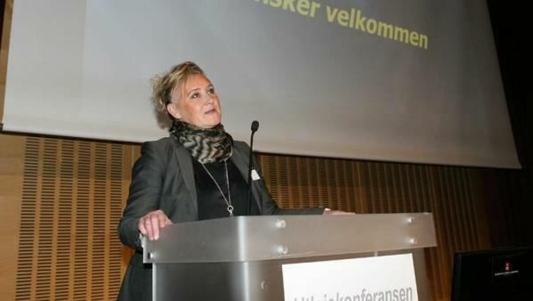 En svært optimistisk Nina Aasland under åpningen av Utleiekonferansen 2014 tirsdag.