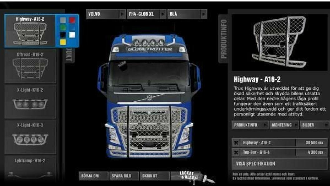 På Trux' nettsider kan kundene selv prøve ut hvordan utstyret vil se ut på akkurat sin lastebil.