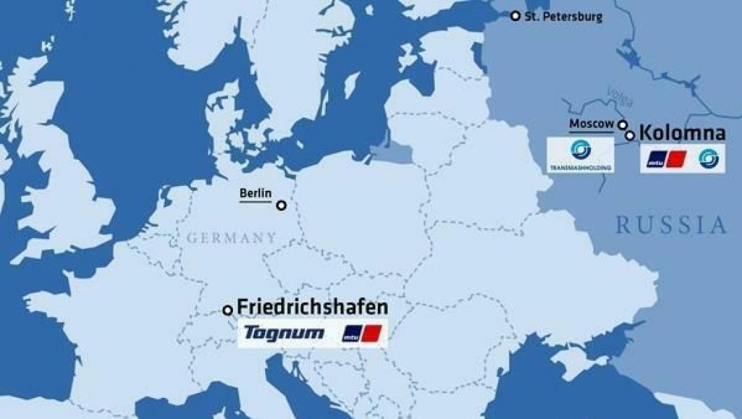 Kartet viser Tognums hovedkvarter i Friedrichshafen i Tyskland og den nye fabrikken som skal bygges i Kolomna like ved Moskva.