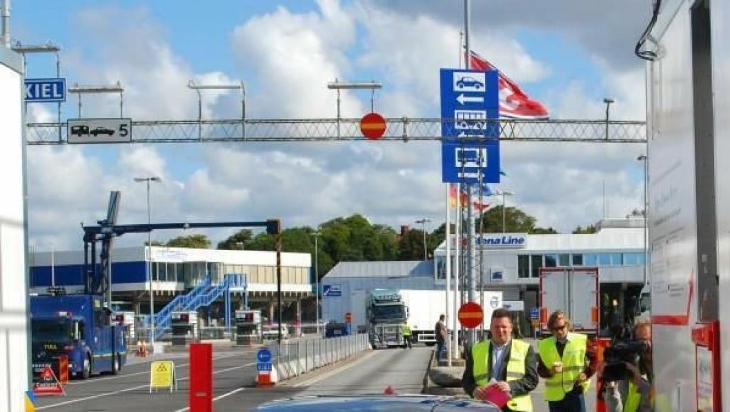 Testbommen var satt opp ved Stena Lines Tysklandsterminal i Göteborg.