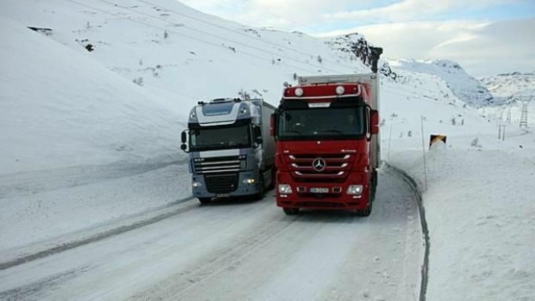 Norske vogntog er verst på vinterføre.