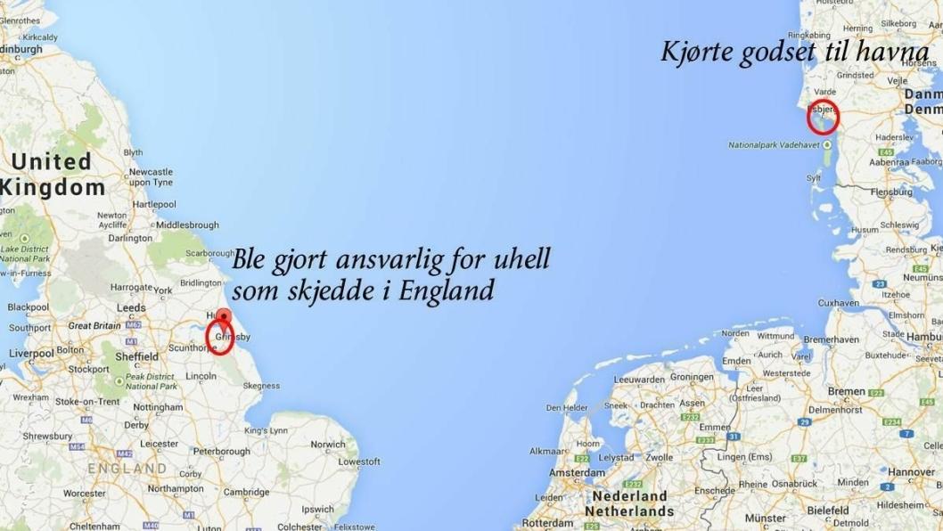 En sjåfør fraktet last på tralle fra fabrikk til havn i Danmark - ble gjort ansvarlig for uhell i England med samme last og tralle.