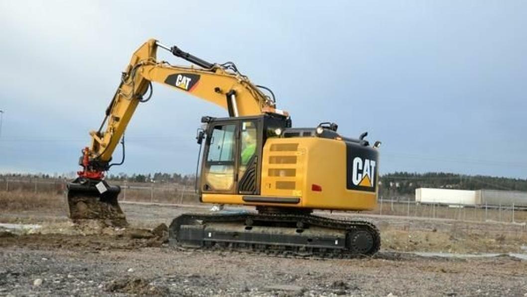 En symbolsk gravejobb markerte i dag starten på byggingen av det nye anlegget til Pon Equipment og Pon Power på Berger i Skedsmo, Akershus.